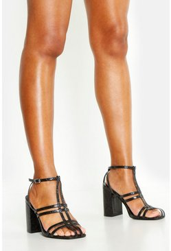 Womens Black Caged Block Heel Sandals