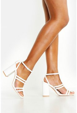 Womens White Caged Block Heel Sandals