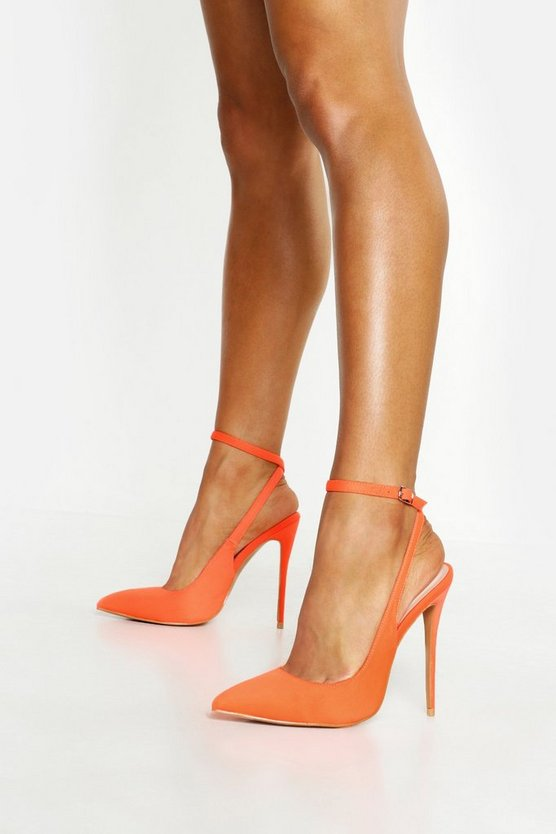 Womens Orange Neon Pointed Court Shoes