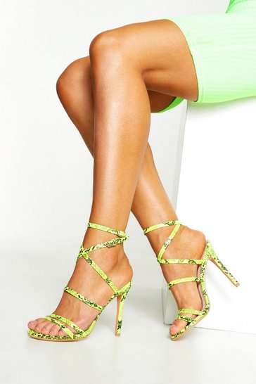 Womens Lime Strappy Snake Heels