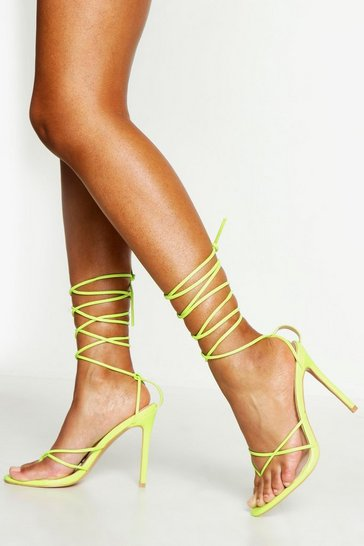 Womens Lime Toe Post Wrap Ankle Heels