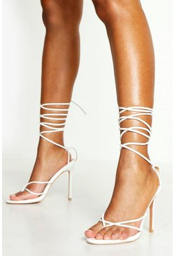 White Toe Post Wrap Ankle Heels