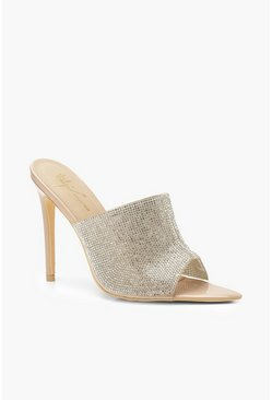 Womens Nude Embellished Pointed Mules