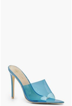 Womens Blue Pointed Peeptoe Mules