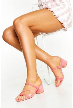 Womens Pink Low Block Heel Mules