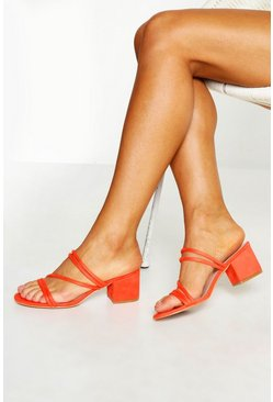 Womens Orange Low Block Heel Mules