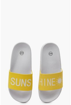 Womens Yellow Sunshine Slogan Sliders