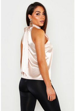 Womens Nude Satin Halterneck Tie Back Top