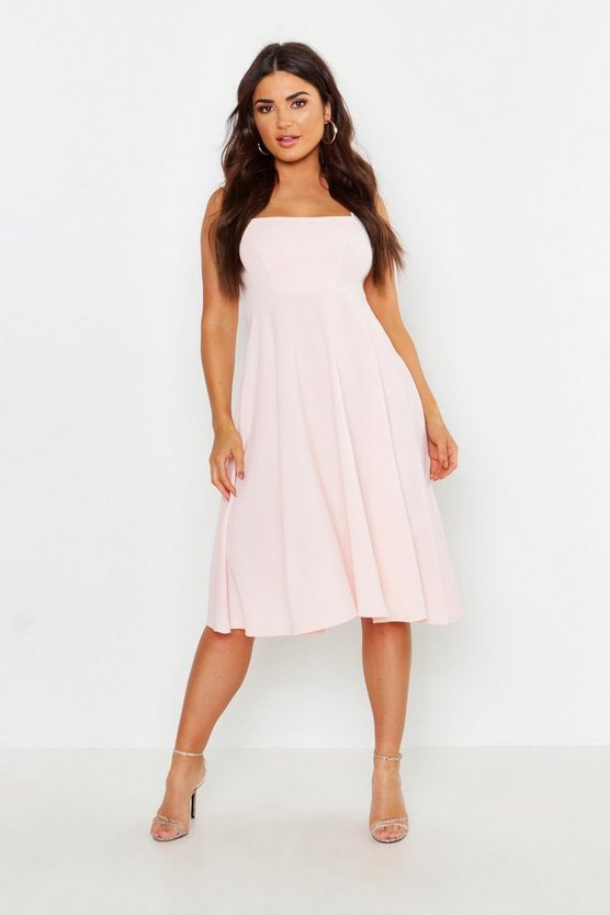 Womens Blush Square Neck Midi Skater Dress