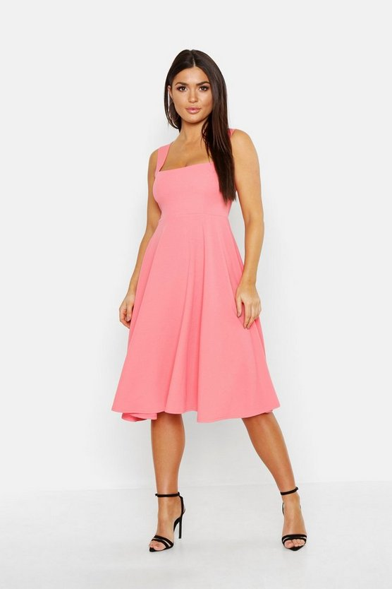 Womens Coral Square Neck Midi Skater Dress