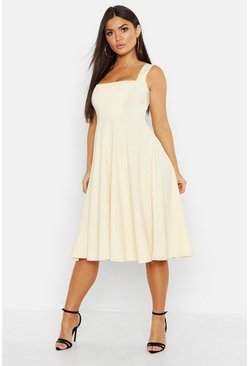 Womens Ecru Square Neck Midi Skater Dress