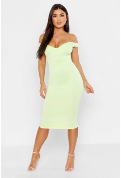 Womens Mint Sweetheart Off Shoulder Midi Bodycon Dress