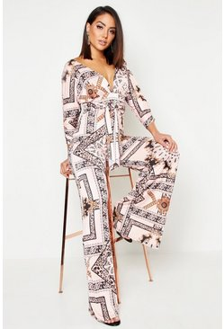 Womens Pink Slinky Chain Print Wide Leg Plunge Jumpsuit