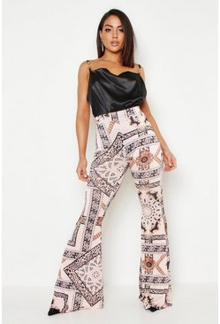 Womens Pink Slinky Chain Print Flares