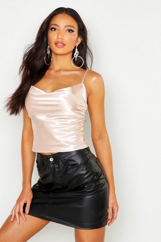 Womens Nude Satin Cowl Neck Cami Top