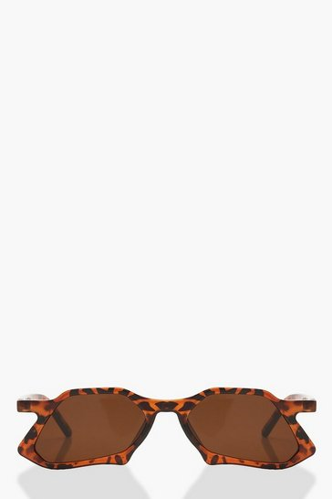 Womens Brown Tortoiseshell Cat Eye Sunglasses & Pouch