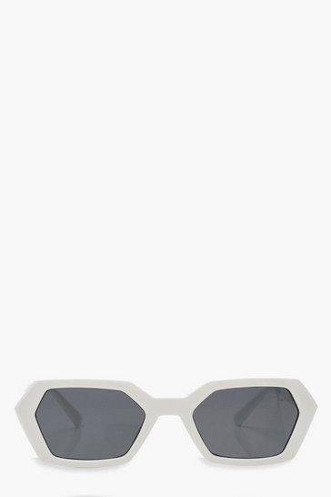 Womens White Pointed Sunglasses With Pouch