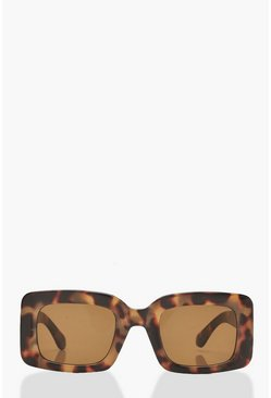 Brown Oversized Tortoiseshell Sunglasses With Case