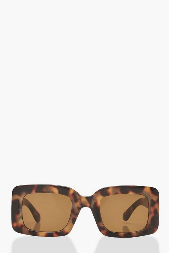 Womens Brown Oversized Tortoiseshell Sunglasses With Case