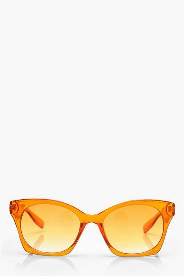 Womens Orange Oversized Sunglasses With Pouch