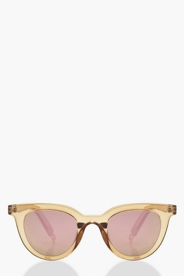 Womens Nude Winged Round Sunglasses With Pouch