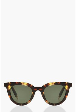 Brown Tortoiseshell Winged Round Sunglasses