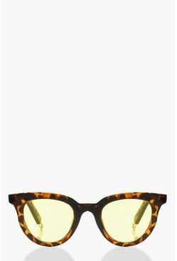 Womens Multi Tortoiseshell Round Yellow Sunglasses & Pouch