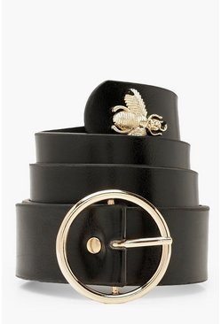 Black O Ring Buckle Bee Belt