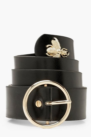 Womens Black O Ring Buckle Bee Belt
