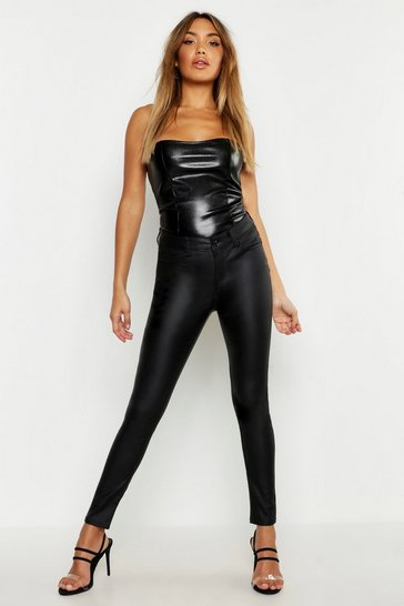 Womens Black Leather Look Coated Trouser