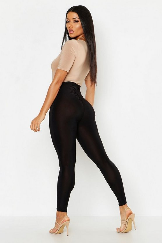 Womens Black Slinky Ruched Bum Detail Leggings