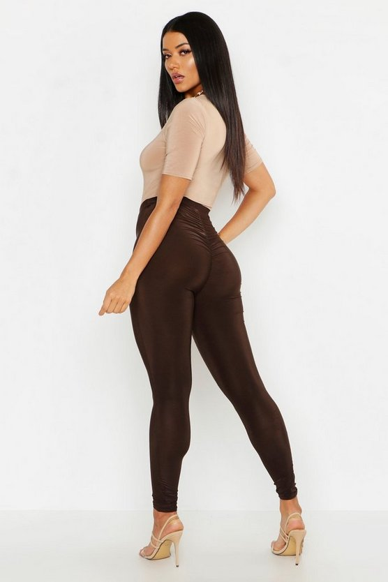 Womens Chocolate Slinky Ruched Bum Detail Leggings