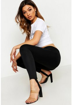 Womens Black Ponte Stirrup Leggings