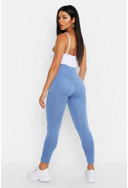 Denim-blue Ruched Bum Detail Jersey Legging