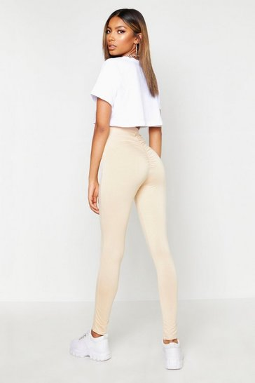 Womens Ecru Ruched Bum Detail Jersey Legging