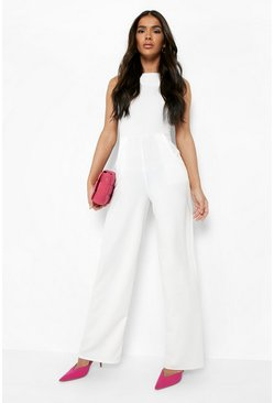 Womens Ivory Round Neck Textured Jumpsuit
