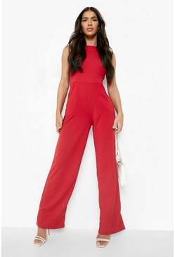 Red Round Neck Textured Jumpsuit