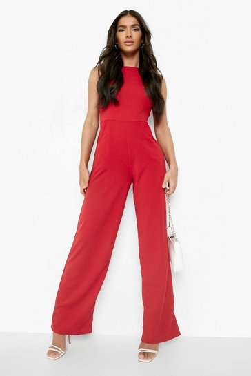Womens Red Round Neck Textured Jumpsuit