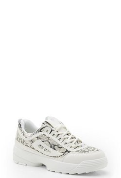Womens White Snake Panel Chunky Trainers