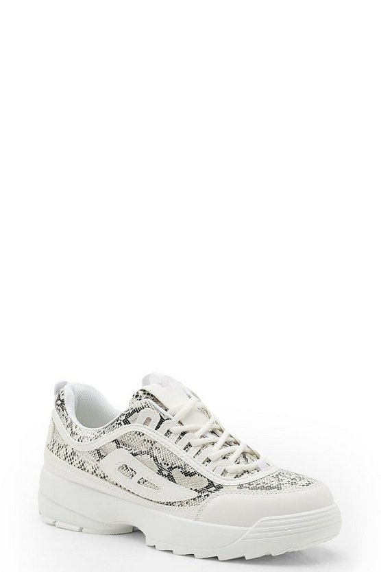 Womens White Snake Panel Chunky Sneakers