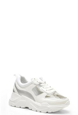 Womens White Clear Panel Chunky Trainers