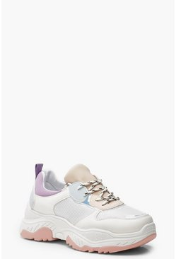 Womens Pink Pastel Colour Block Chunky Sneakers