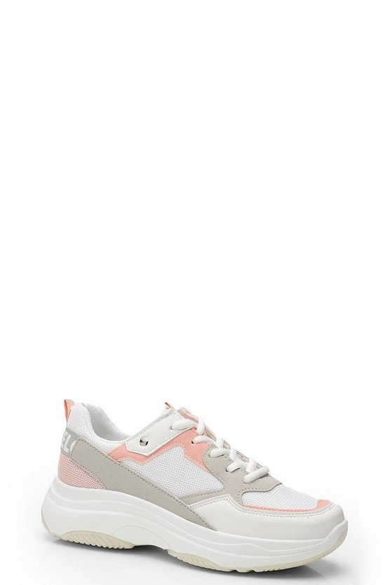 Womens Pink Chunky Platform Lace Up Trainers