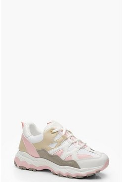 Womens Pink Chunky Sole Lace Up Trainers