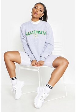 Sweatshirt mit Slogan California, Grau, Damen