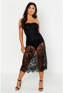 Womens Black Lace Strapless Midi Dress