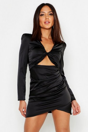 Womens Black Satin Twist Front Cut Out Dress
