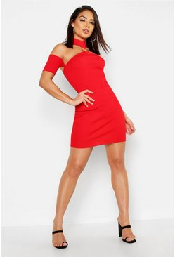Womens Red O Ring Detail Cold Shoulder Dress