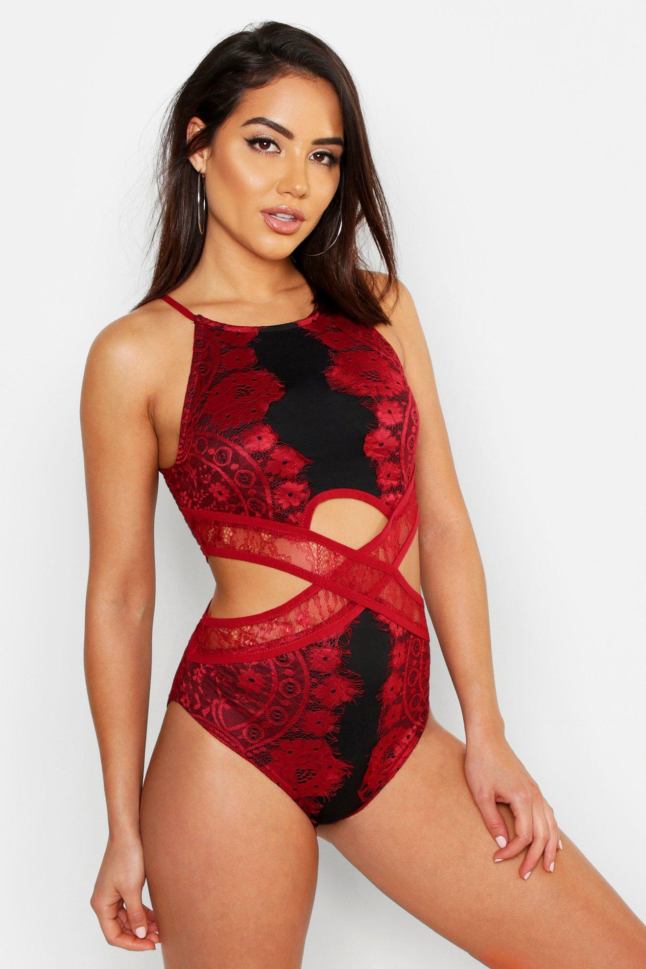 Lace Cut Out Detail Bodysuit