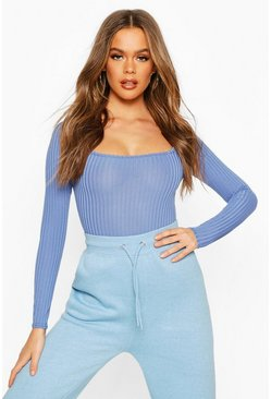 Womens Denim-blue Square Neck Rib Knit Long Sleeve Body
